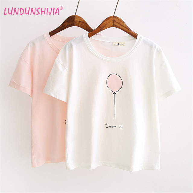 LUNDUNSHIJIA 2017 Summer T-shirts For Women Fashion Tee Top Lovely Balloon  Printed Short Sleeve Female T-shirt Women Tops 7547 8e90107dfe7c