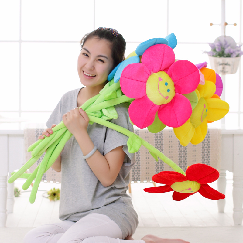 5pieces lot beautiful sunflower toy plush muticolour flower dolls gift about 85cm