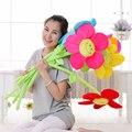 5pieces/lot beautiful sunflower toy plush muticolour flower dolls gift about 85cm
