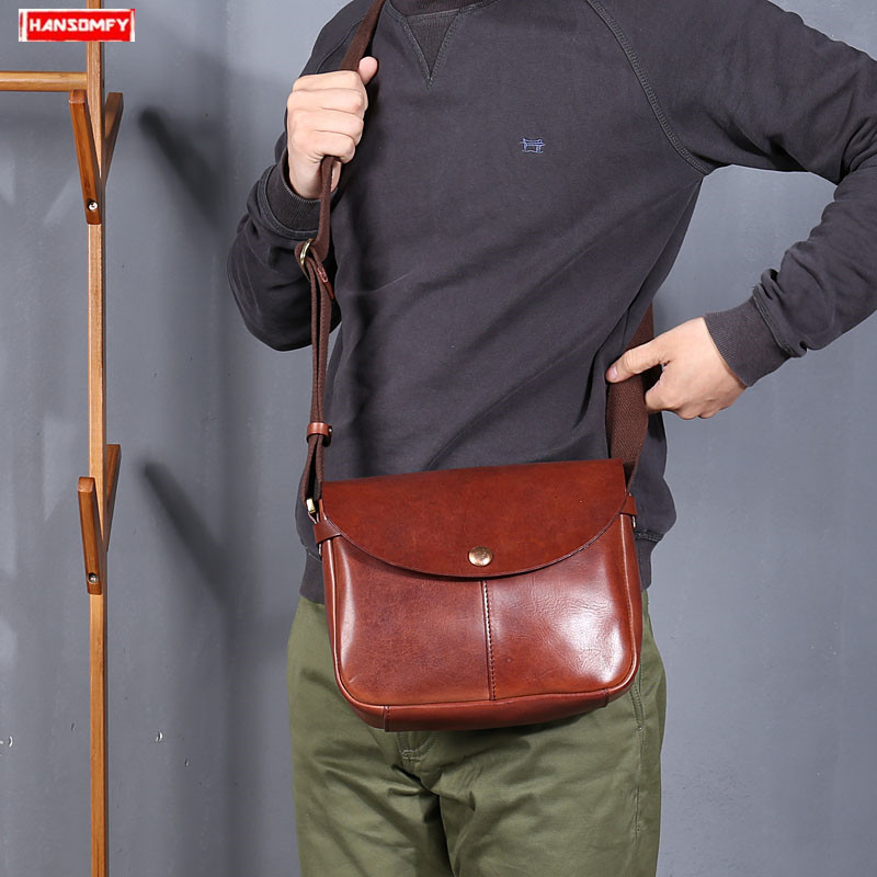 46eba737f 2019 new genuine leather men Messenger bag handmade retro leather shoulder  bag trend fashion casual male crossbody bags