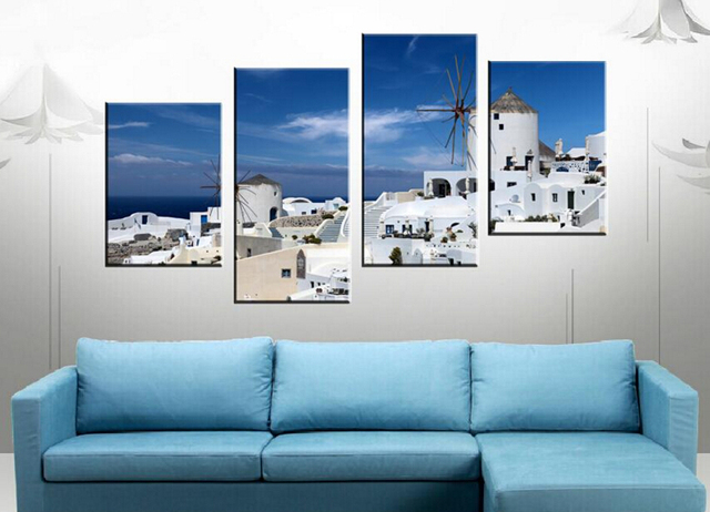 4 Piece Free Shipping Hot Sell Modern Art Wall Paint on Canvas Prints The sea and mountain built islamic style of architecture