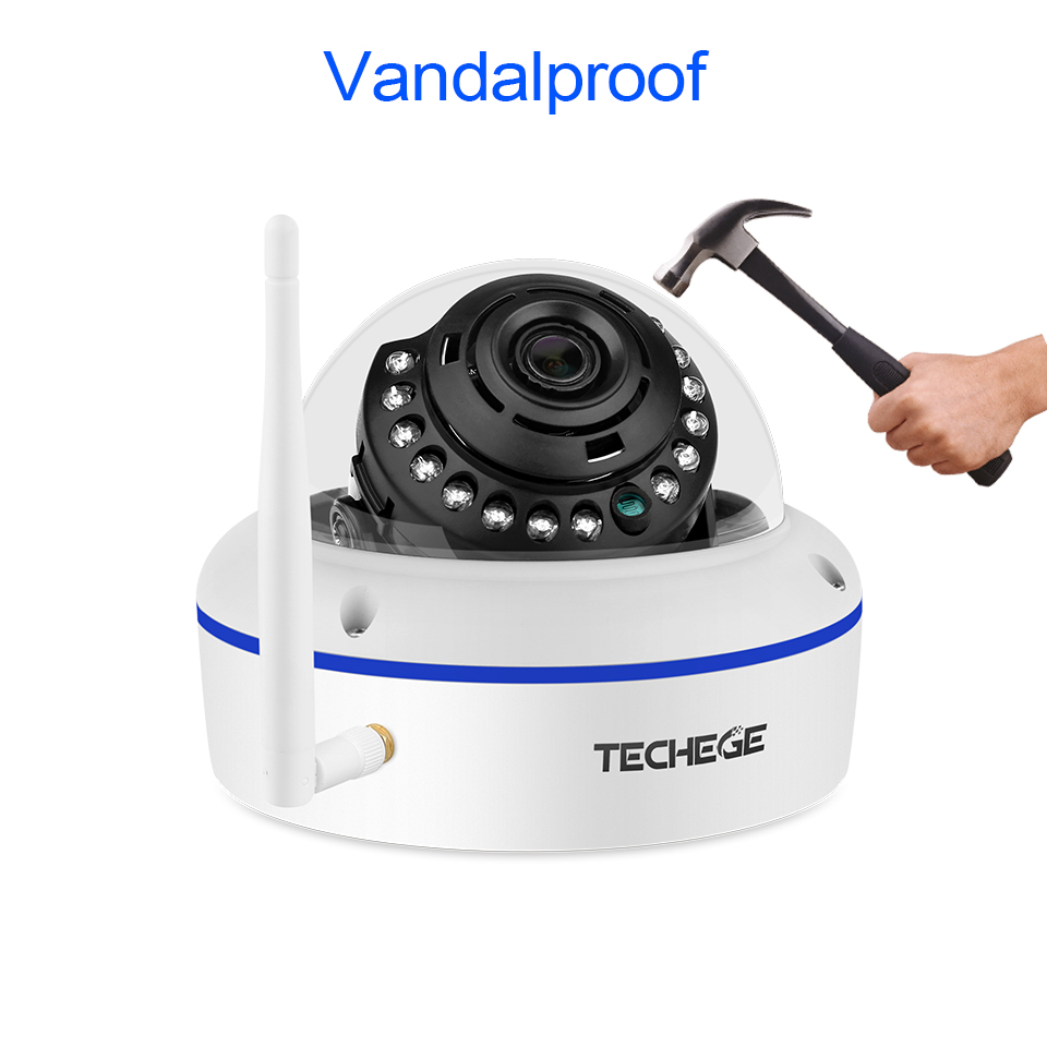 Image 2 - Techege 1080P Wifi Dome Camera Audio Wireless Wired Night Vision Vandalproof 2MP CCTV Camera SD Card Slot Max 64G Free Adapter-in Surveillance Cameras from Security & Protection