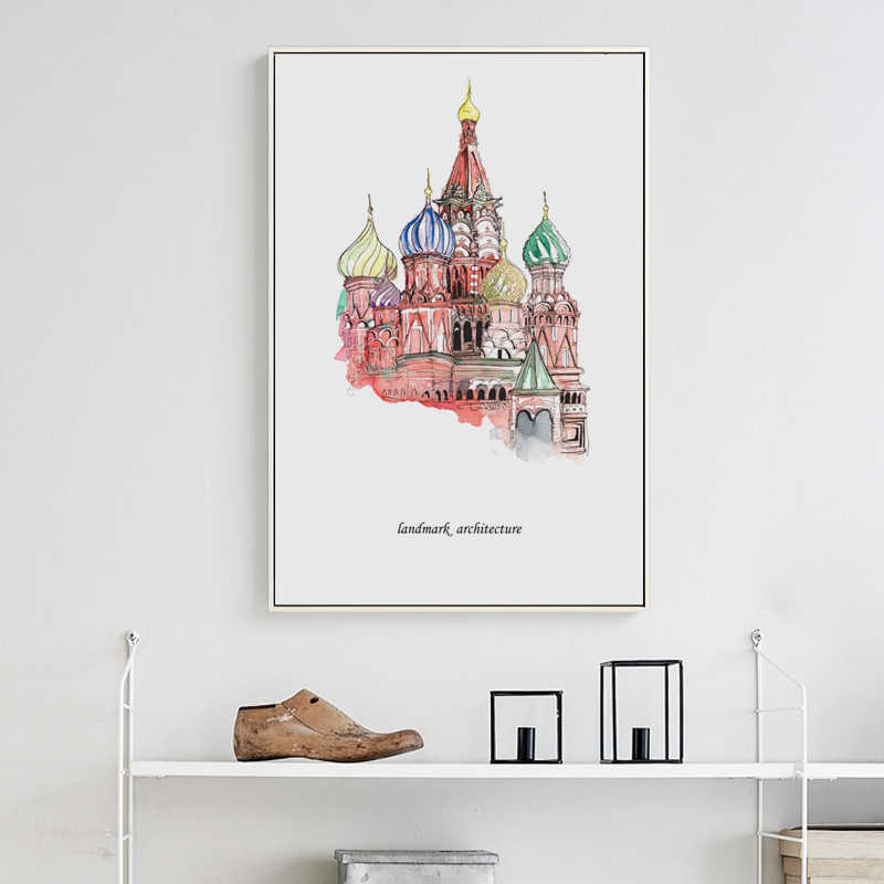 Elegant Poetry The World S Logo Architectural Landscape Canvas Painting Art Print Poster Picture Wall Paintings Wall Decoration