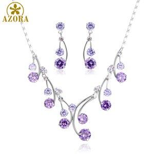 Image 5 - Женский комплект украшений AZORA, набор из ожерелья и сережек с фиолетовыми Фианитами, Свадебный комплект для помолвки, TG0265