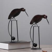 Creative 2 Pcs Nordic Style Dekor Wood Carved Decoration Bird Office Desk Decor Bar Entrance Hall