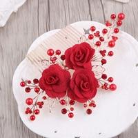 Handmade Hair Accessories Wedding Garland Floral Bride Headband Hairband Prom Festival Princess Wreath Red Flower Headpiece