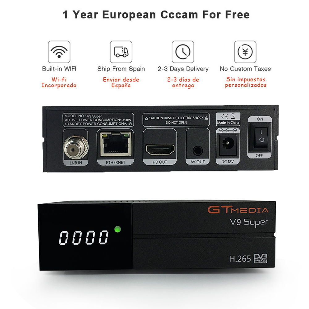 GT Media V9 Super DVB-S2 Freesat Satellite Receiver V8 Super New Version H.265 WIFI+1Year Europe Spain PT DE PO CCcam TV decoder