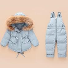 러시아어 겨울 자 켓 아이들을위한 작업복 소년 소녀 Snowsuit 아기 소년 소녀 코트 자 켓 유아 새 해 의류 세트