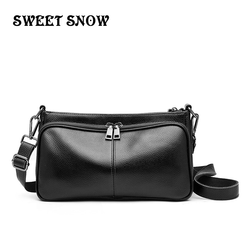 SWEET SNOW New Soft Genuine Leather Fashion Messenger Bag High Quality Ladies Crossbody Bag Retro Simple