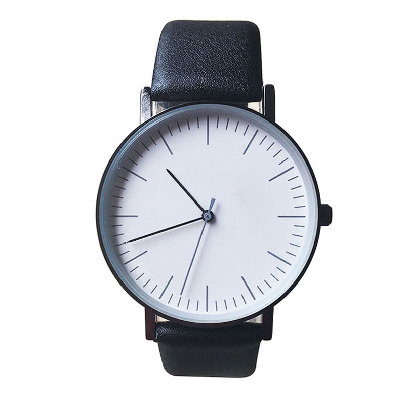 Mens Quartz Watch Luxury Watch Brands Imitation Leather Waterproof Wristwatch Simple White & Black Dial Watches Watchband 18mm hand made mens wooden bamboo quartz watch black genuine leather watchband simple unique modern wristwatch gift for male female