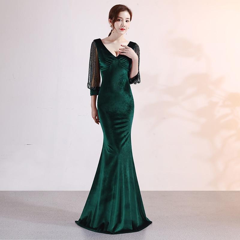 Elegant Green Velvet Crystal Beading Mesh Sleeves V Neck Mermaid Long Sexy Dress Party Wear Dresses For Women Vestido De Festa