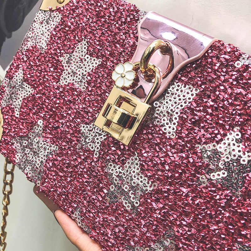 Тенденция серебряные блесток звезда моды коробка Стиль Женская Праздничная обувь клатч цепи кошелек Bolsa сумка через плечо мини сумка