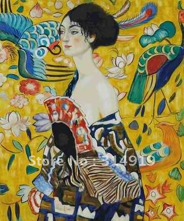 handpainted Oil Painting reproductions canvas art,home decoration,Signora con Ventaglio Interpretation Oil Painting by Klimt