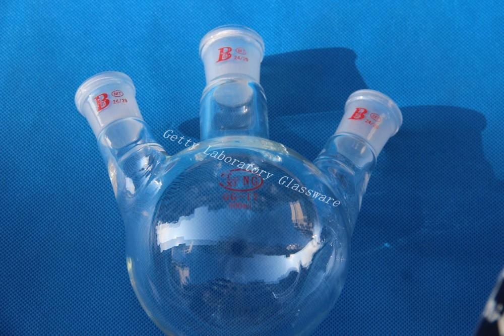 500 ml 3-neck Round bottom flask , heavy wall ,24/29 (Borosilicate glass 3.3 material)
