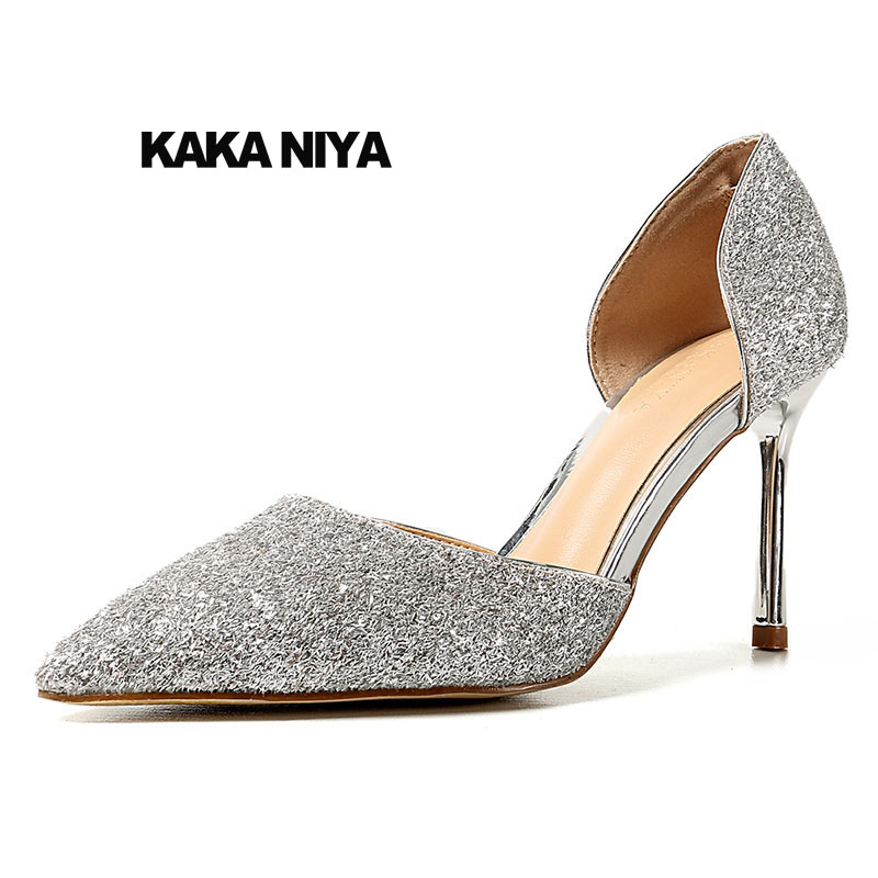 Shoes Sandals Bridal Stiletto 2018 Sequin Silver Women Gold Glitter Heels Bling High Dorsay Rose Pumps Size 4 34 Pointed Toe