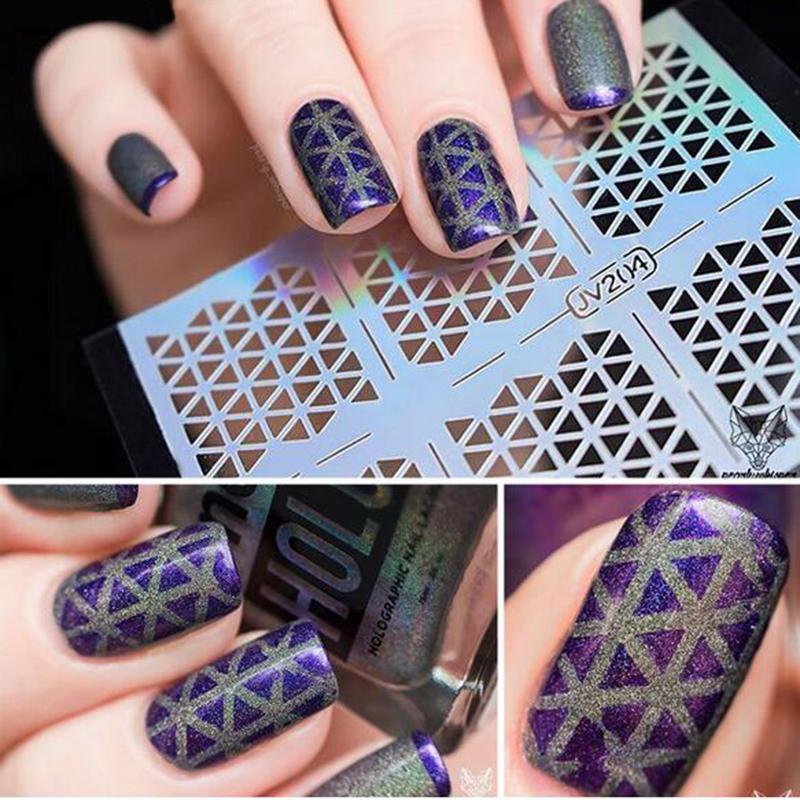New 1sheet Nail Vinyls Irregular Grid Pattern Stamping Nail Art Tips ...