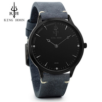 KINGHOON Mens Watches Brand Luxury Ultra Slim Quartz Watch Men 2017 Business Leather Band Relogio Masculino