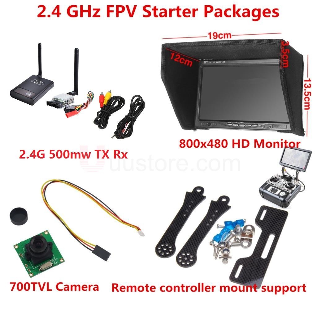 2.4 GHz FPV Starter Packages - 4km 500mw Wireless FPV Transmitter And Receiver + HD Monitor + 700TVL Camera + Mounting Bracket недорго, оригинальная цена