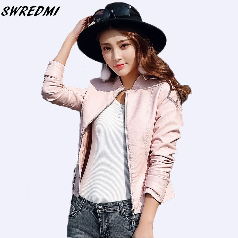 SWREDMI 2018 Spring And Autumn Women   Leather   Jacket Pink Short Slim   Leather   Clothing Zipper O-Neck   Suede   Outerwear XS-XL