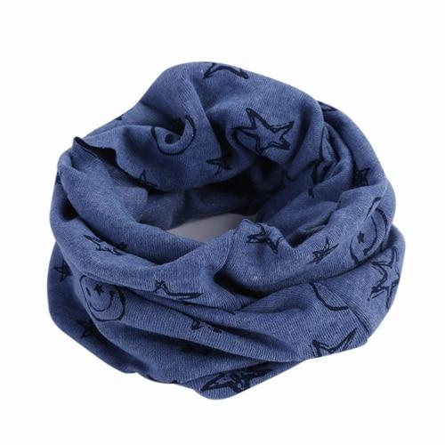 Детский Теплый хлопковый шарф-труба для мальчиков и девочек, шарф-шаль с круглым вырезом, шейный платок с рисунком улыбающегося лица и звезды - Цвет: R73-7