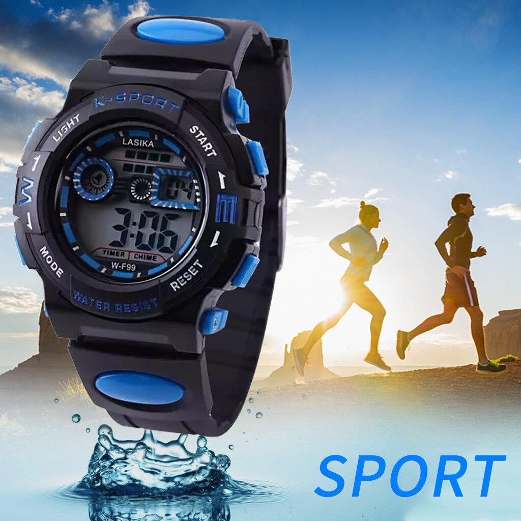 цифровой детский часы секундомер мульти функция будильник часы 3 бара спорт часы электронные детские наручные часы орологи бамбини +% 23N03