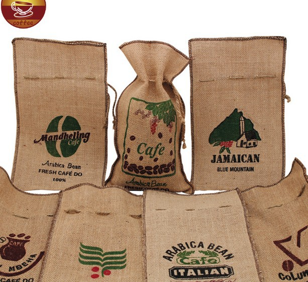 coffee burlap bag/drawstring burlap sack/coffee bag packaging/printing burlap bean pouch
