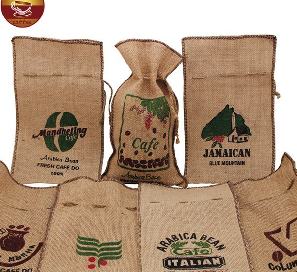 coffee burlap bag/drawstring burlap sack/coffee bag packaging/printing burlap bean pouch