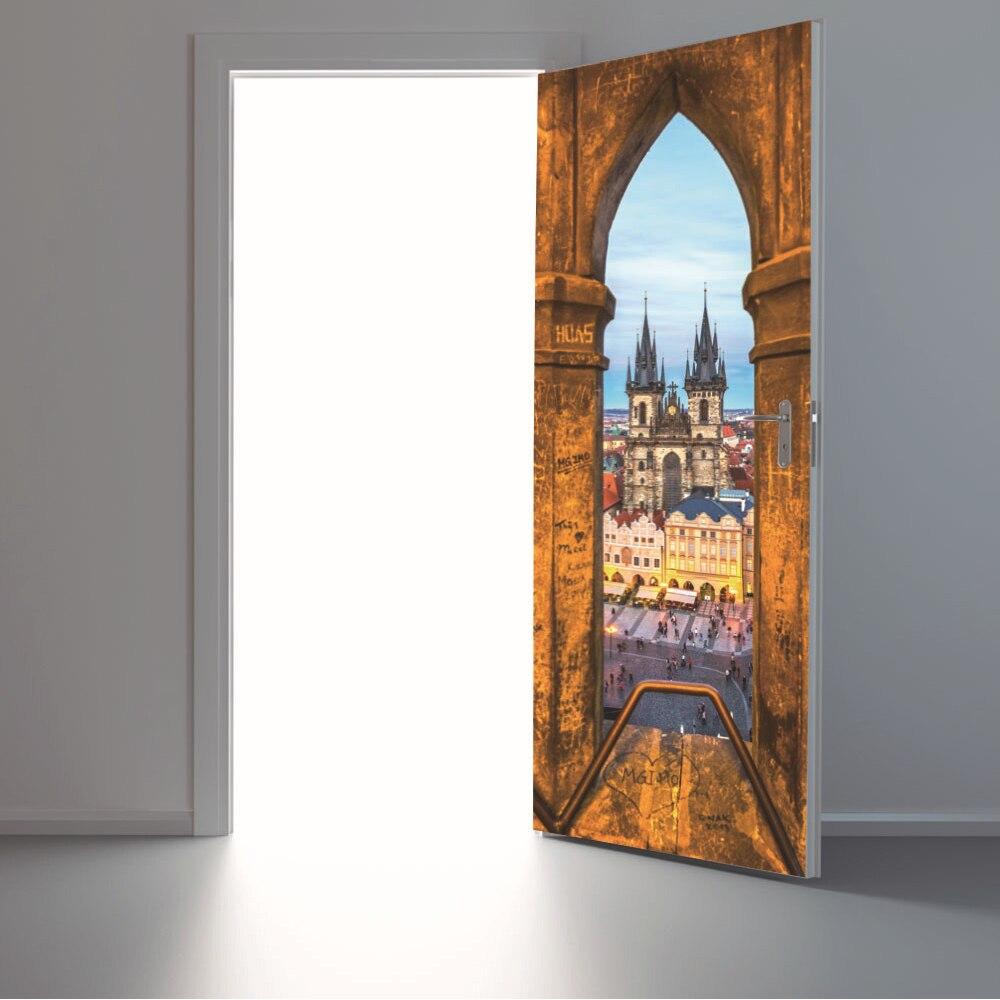 yazi PVC Self Adhesive 3D Vision Door Sticker Wall Stickers Vinyl ...