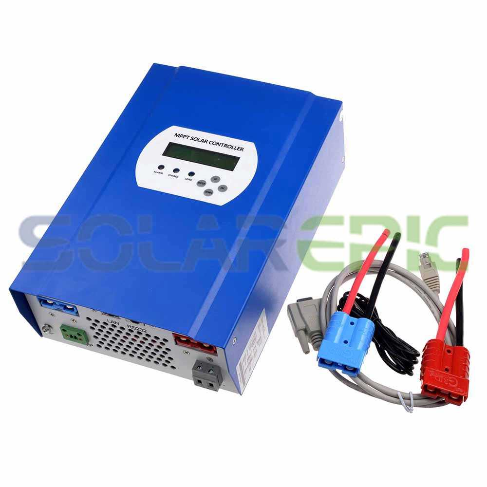 60A MPPT Solar Controller 12V/24V/48V DC Auto Max 150V PV Input Battery Regulator Charger RS232/LAN Connector With LCD Display