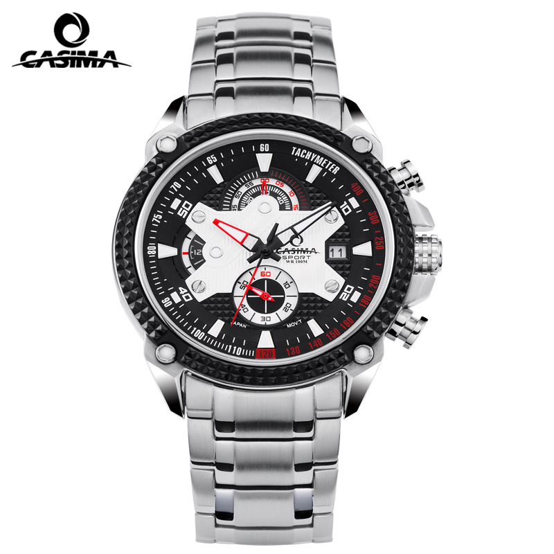 CASIMA men s watch stainless steel sports fashion Luxury watches multifunctional quartz watch men watches Waterproof
