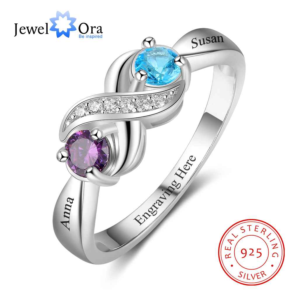 personalized heart birthstone custom engrave 2 names promise ring love 925 sterling silver anniversary gift jewelora ri103269 Infinity Love Promise Rings Personalized Birthstone Engrave 2 Names 925 Sterling Silver Jewelry Gift For Her (JewelOra RI103265)