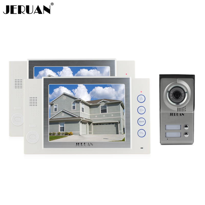 JERUAN 8 inch video door phone doorbell intercom system video doorphone monitor 2 house 1 outdoor recording photo taking jeruan home security system 2 outdoor 1 indoor with recording photo taking 8 inch video door phone doorbell intercom system