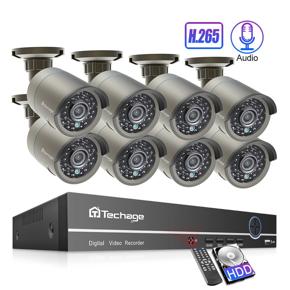Techage 8CH 1080P 48V NVR System 2MP h.265 Audio Record POE Kamera Kit Outdoor P2P IR CCTV Überwachung home Security Video Set