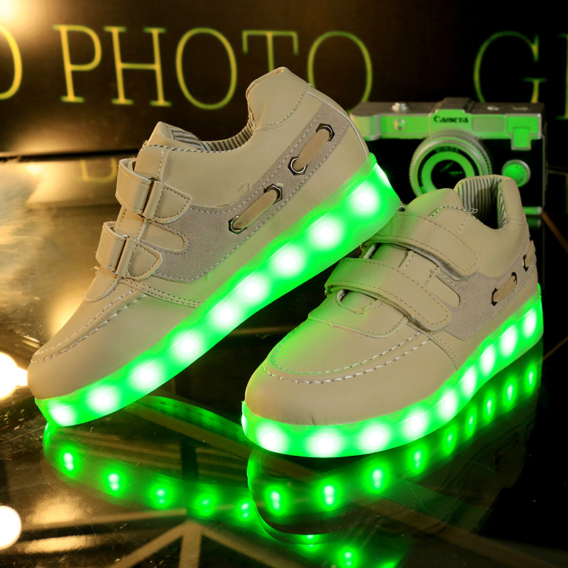 2016 New Summer Children Breathable Sneakers Fashion Sport Led Usb Luminous Lighted Shoes Kids Running Boys