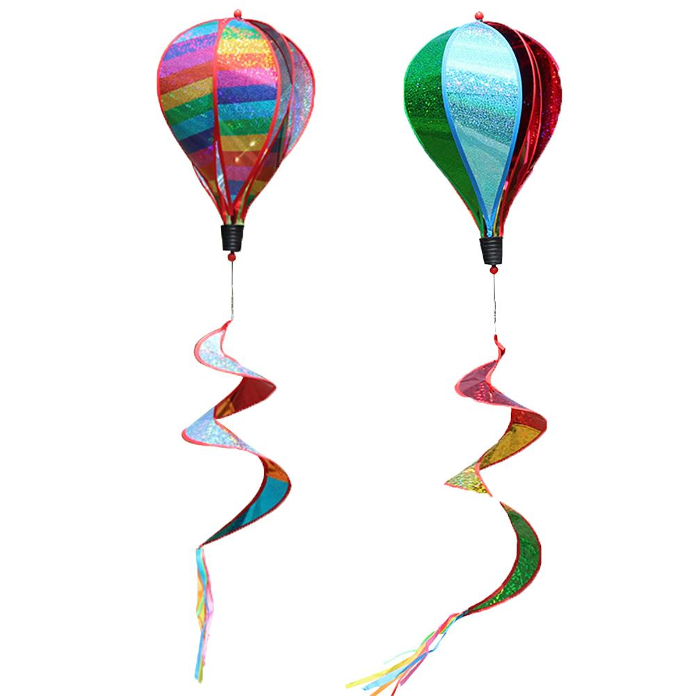 Rainbow Striped Sequins Windsock Hot Air Balloon Wind Spinner Colorful Stripes Garden Windmill Outdoor Wind Strip Decoration