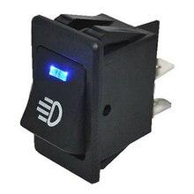 12V 35A Car Auto Fog Light Rocker Toggle Switch 4Pins Blue LED  Indicator Waterproof Latching Rocker Toggle for Car Boat