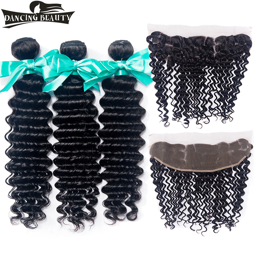 DANCING BEAUTY Peruvian Deep Hair Lace Frontal Closure With Bundles Human Hair Deep Wave 3 Bundles With Frontal 13*4 Non Remy