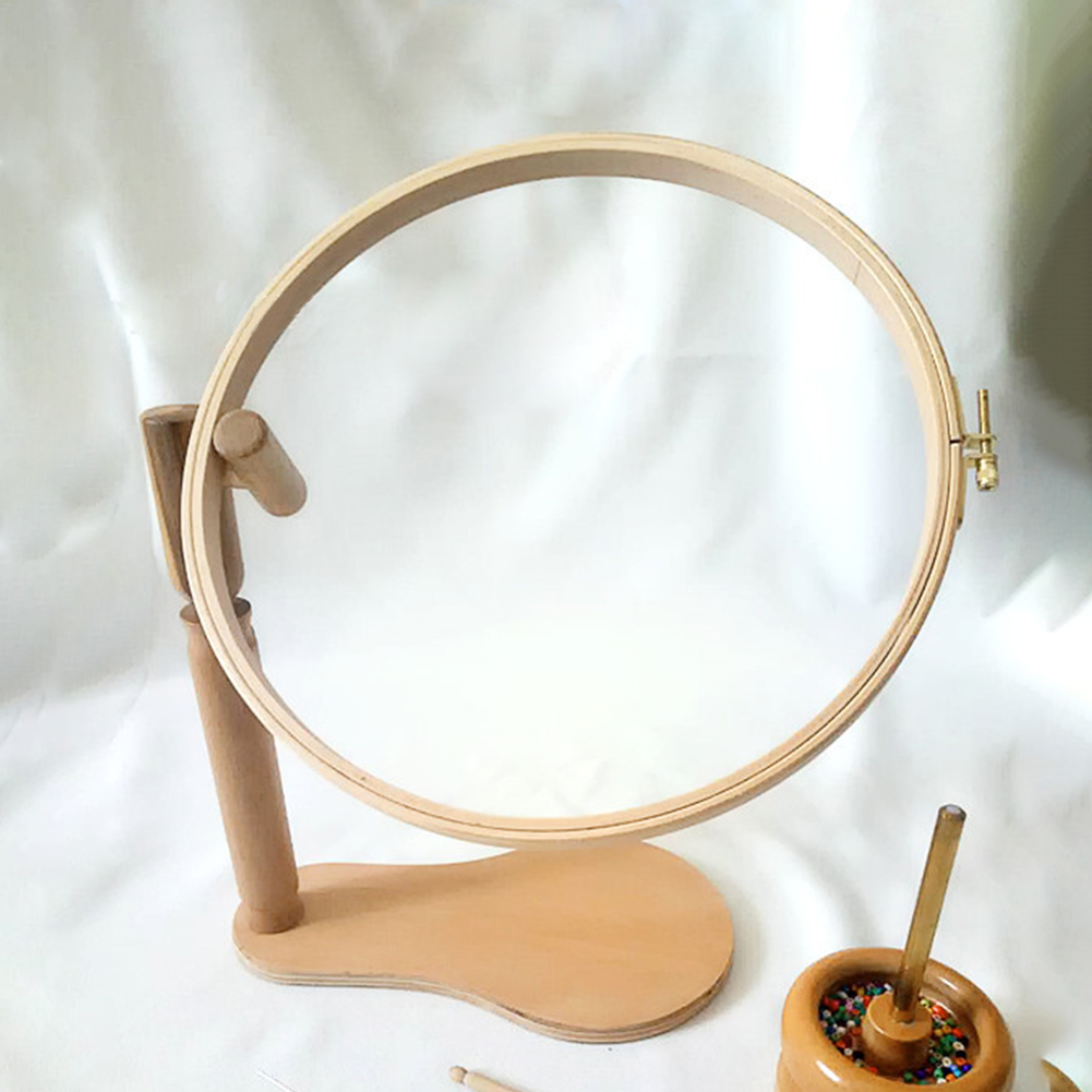 Height Adjustable Embroidery Stand Hoop Craft Wood Foldable Desktop Needlework Portable Cross Stitch Rack Round Frame