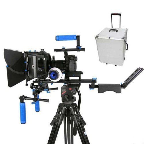 Pro DSLR Rig Shoulder Mount Movie Kit With Matte Box Follow Focus With Carry Case For Canon Nikon 5D II III 6D free shipping 2016 new koolertron hand grip handle shoulder mount rig follow focus adjust platform matte box sunshade for dslr cannon nikon