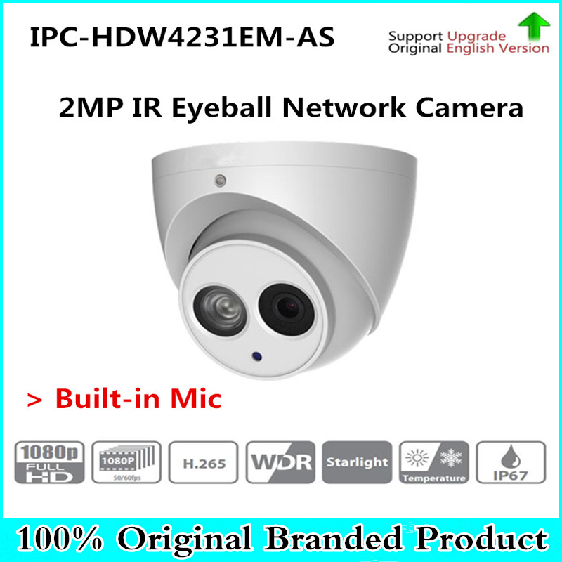 DH Original English version Built-in Mic 2mp Starlight IR Eyeball Network Camera Without LGO IPC-HDW4231EM-AS,free DHL shipping dhl free shipping in stock new arrival english version ds 2cd2142fwd iws 4mp wdr fixed dome with wifi network camera