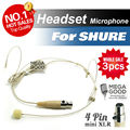 Free Shipping! 3pcs Condenser Headworn Headset Microphone with Mini 4 Pin XLR TA4F plug for Shure Wireless BodyPack Transmitter