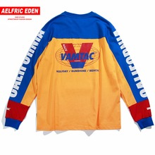 Aelfric Eden Long Sleeve T-shirts Men Letter Printed Casual T Shirt Color Block Fashion Harajuku Cotton Hip Hop Tee Shirt Mt10(China)