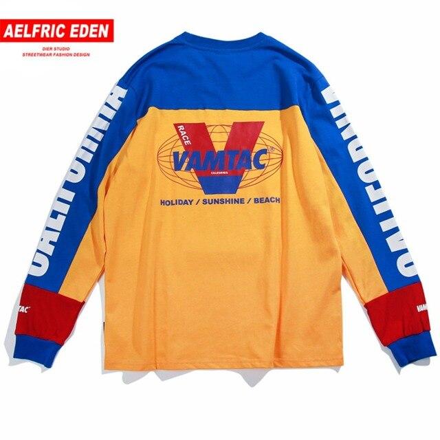 Aelfric Eden Long Sleeve T-shirts Men Letter Printed Casual T Shirt Color Block Fashion Harajuku Cotton Hip Hop Tee Shirt Mt10