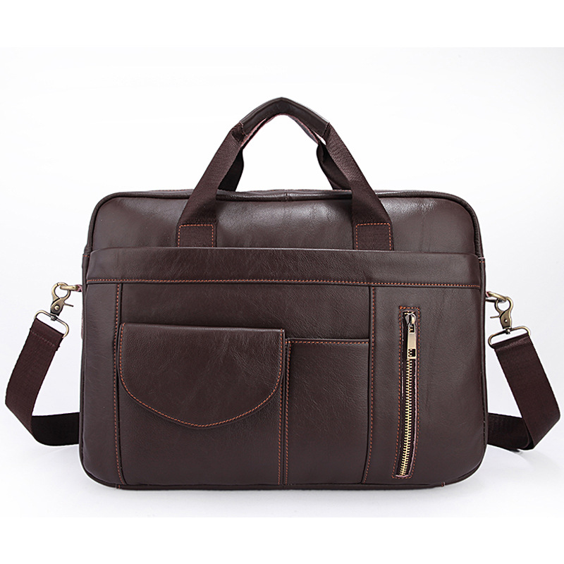 Fashion Brown Men's Genuine leather Briefcases Men's portfolio bags Men executive briefcase leather laptop bag business padfolio portfolio with letter size writing notepads deluxe executive vintage brown leather padfolio new
