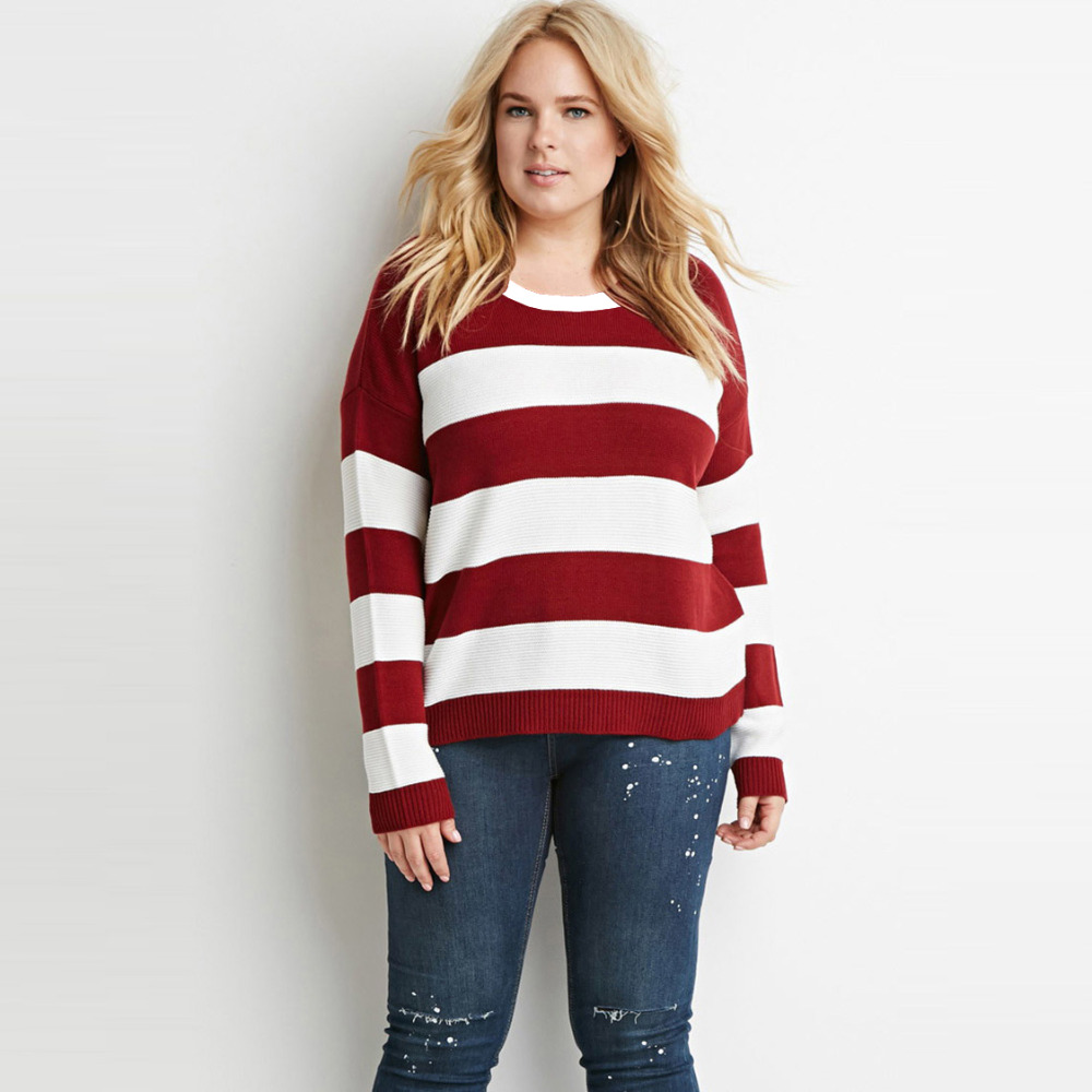 White and red <font><b>striped</b></font> oversized jumpers women winter plus size casual <font><b>rib</b></font> <font><b>sweaters</b></font> ladies autumn xxxl fitted cotton knit tops