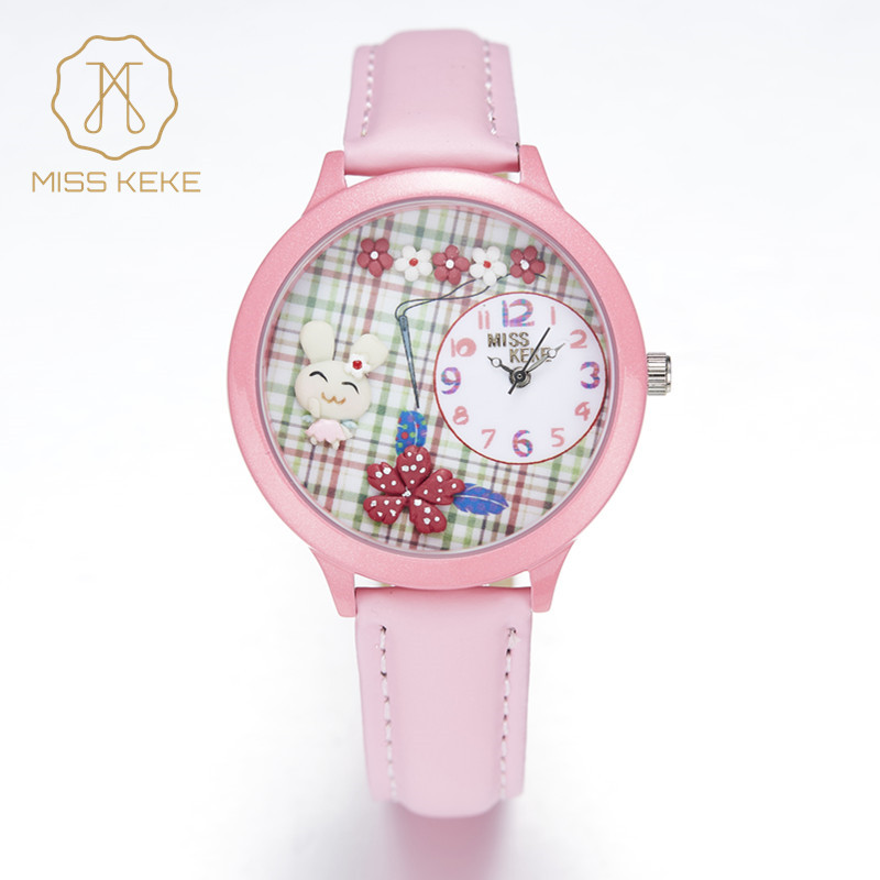 2016 Nya MISS KEKE 3D Clay Söt Cartoon ORZ Rabbit Barn Klockor Relogio Feminino Ladies Girls Quartz Läder Armbandsur 848