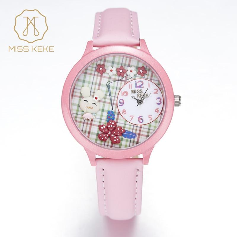 2016 New MISS KEKE 3D Clay Cute Cartoon ORZ Rabbit Kids Watches Relogio Feminino Ladies Girls Quartz Leather Wristwatches 848