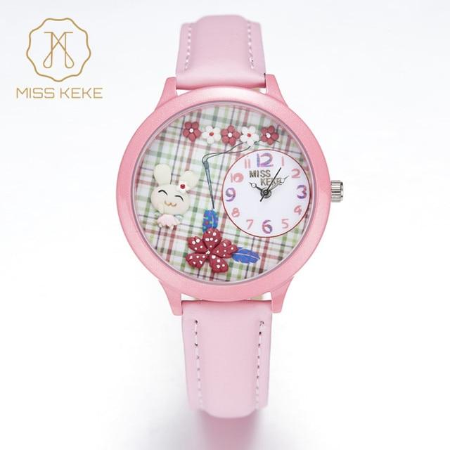 2016 New MISS KEKE 3D Clay Cute Cartoon ORZ Rabbit Kids Watches Relogio Feminino