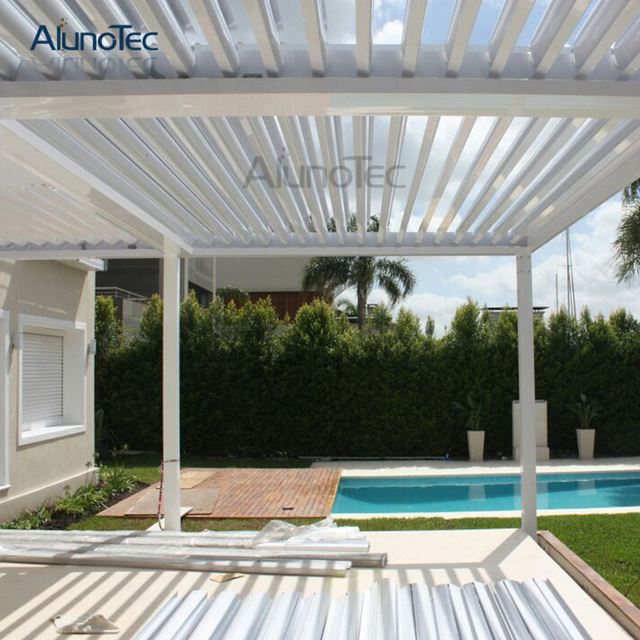 Dach Pergola motorisierte kundenspezifische öffnung louvre dach pergola aluminium