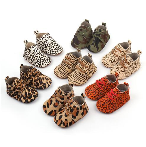 Wholesale 50pairs/lot  New Genuine Leather Baby Shoes Leopard Print Girls Soft Sole Boys First Walkers Lace Up Baby Moccasins